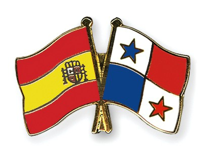 Crossed Flag Pins Spain-Panama