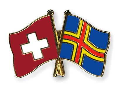 Crossed Flag Pins Switzerland-Aland