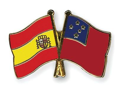 Crossed Flag Pins Spain-Samoa