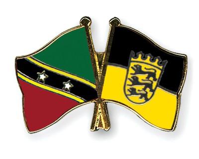 Crossed Flag Pins Saint-Kitts-and-Nevis-Baden-Wuerttemberg