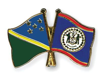 Crossed Flag Pins Solomon-Islands-Belize
