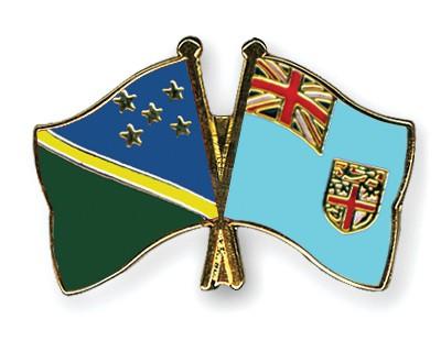 Crossed Flag Pins Solomon-Islands-Fiji
