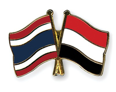 Crossed Flag Pins Thailand-Yemen