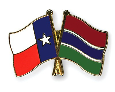 Crossed Flag Pins Texas-Gambia