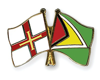 Crossed Flag Pins Guernsey-Guyana