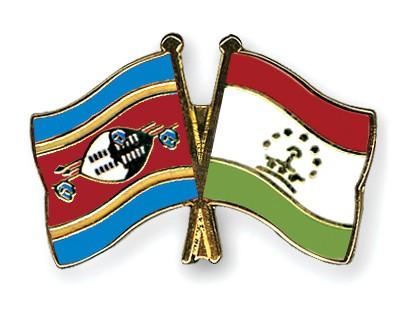 Crossed Flag Pins Swaziland-Tajikistan