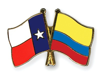 Crossed Flag Pins Texas-Colombia