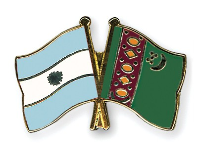 Crossed Flag Pins Argentina-Turkmenistan