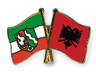 Crossed Flag Pins North-Rhine-Westphalia-Albania
