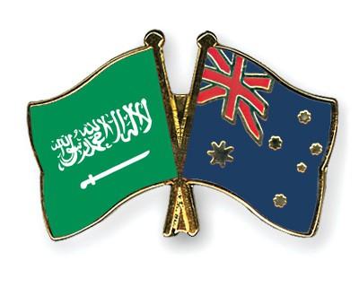 Crossed Flag Pins Saudi-Arabia-Australia