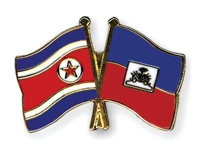 Crossed Flag Pins North-Korea-Haiti