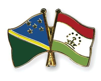 Crossed Flag Pins Solomon-Islands-Tajikistan