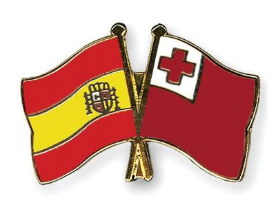 Crossed Flag Pins Spain-Tonga