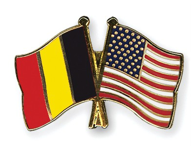 Special Offer Crossed Flag Pins Belgium-USA