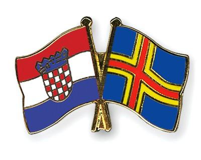 Crossed Flag Pins Croatia-Aland