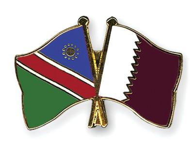 Crossed Flag Pins Namibia-Qatar