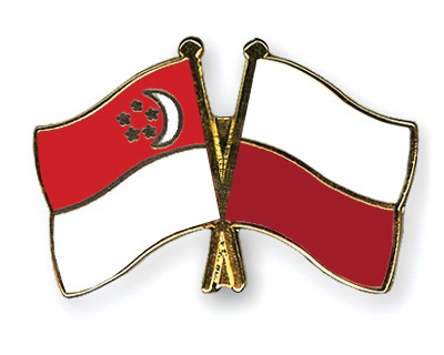 Special Offer Crossed Flag Pins Singapore-Poland