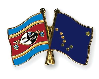 Crossed Flag Pins Swaziland-Alaska