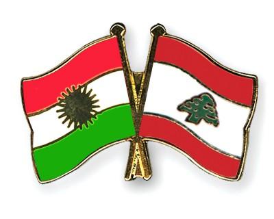 Crossed Flag Pins Kurdistan-Lebanon