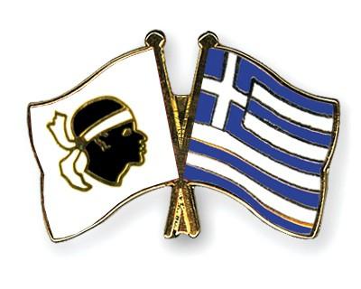Crossed Flag Pins Corsica-Greece