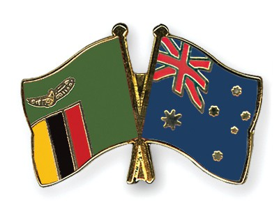 Crossed Flag Pins Zambia-Australia