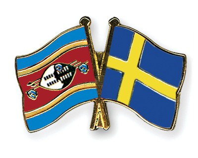 Crossed Flag Pins Swaziland-Sweden