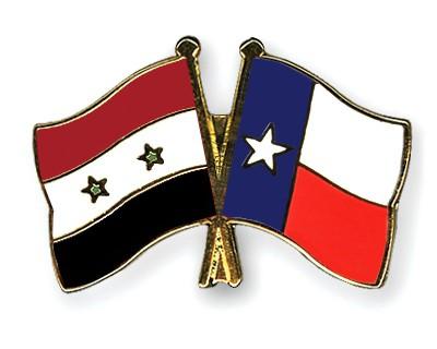 Crossed Flag Pins Syria-Texas