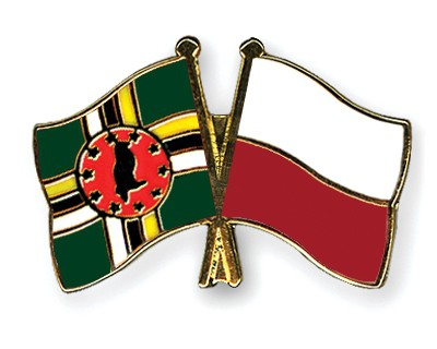 Crossed Flag Pins Dominica-Poland