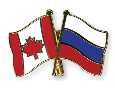 Special Offer Crossed Flag Pins Canada-Russia