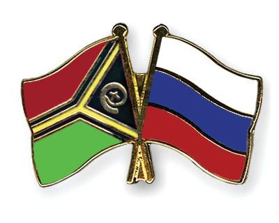 Crossed Flag Pins Vanuatu-Russia