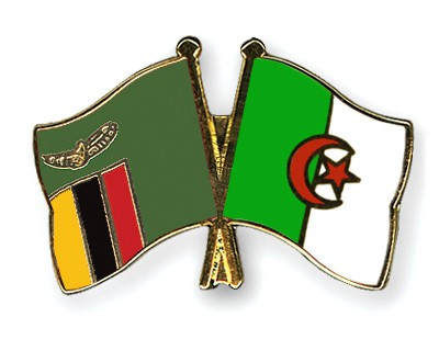 Crossed Flag Pins Zambia-Algeria
