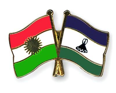 Crossed Flag Pins Kurdistan-Lesotho