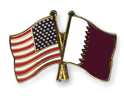 Special Offer Crossed Flag Pins USA-Qatar