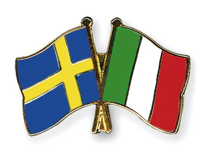 Special Offer Crossed Flag Pins Sweden-Italy