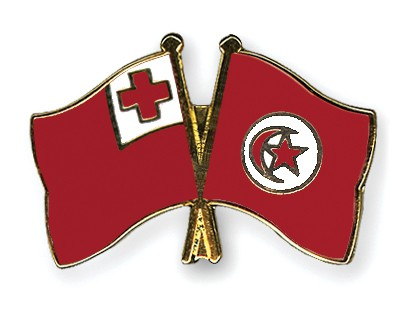 Crossed Flag Pins Tonga-Tunisia