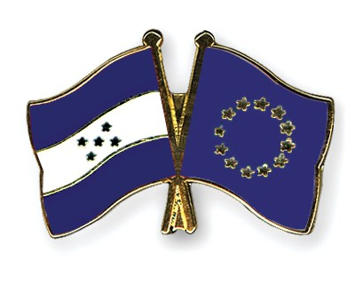 Crossed Flag Pins Honduras-European-Union