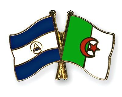 Crossed Flag Pins Nicaragua-Algeria