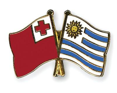 Crossed Flag Pins Tonga-Uruguay