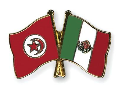 Crossed Flag Pins Tunisia-Mexico