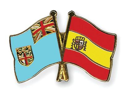 Crossed Flag Pins Fiji-Spain