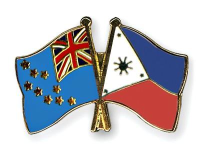 Crossed Flag Pins Tuvalu-Philippines