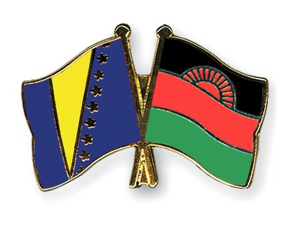 Crossed Flag Pins Bosnia-and-Herzegovina-Malawi