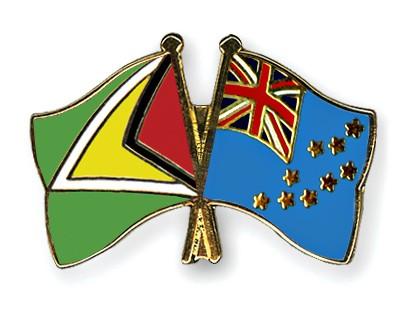 Crossed Flag Pins Guyana-Tuvalu
