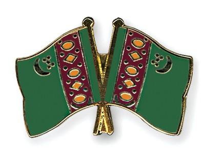 Crossed Flag Pins Turkmenistan-Turkmenistan