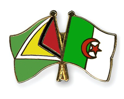 Crossed Flag Pins Guyana-Algeria