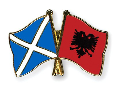 Crossed Flag Pins Scotland-Albania