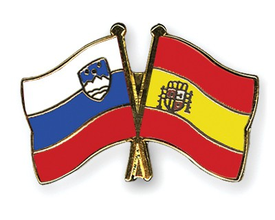 Crossed Flag Pins Slovenia-Spain
