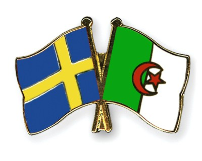 Crossed Flag Pins Sweden-Algeria