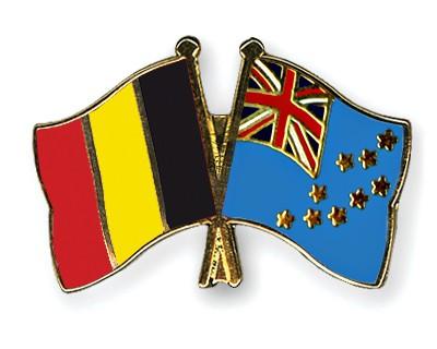 Crossed Flag Pins Belgium-Tuvalu
