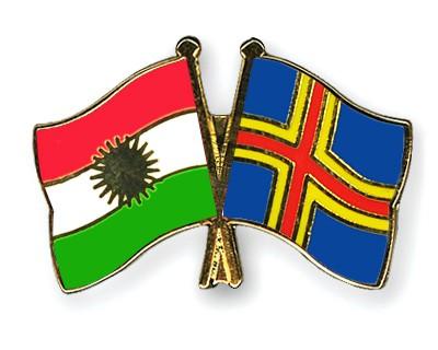 Crossed Flag Pins Kurdistan-Aland